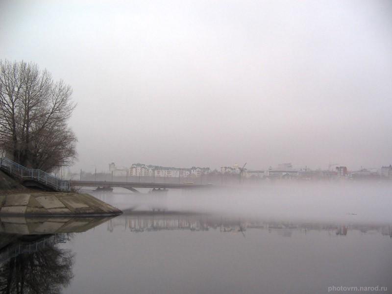 Чернавский мост в утреннем тумане Воронеж фото