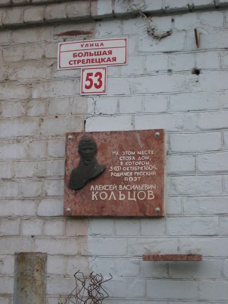 Мемориальная доска А. В. Кольцова в Воронеже фото
