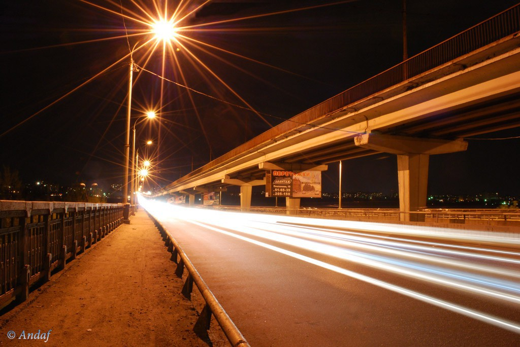 Северный мост ночью в Воронеже фото