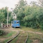Трамвай в районе Березовой рощи в Воронеже фото