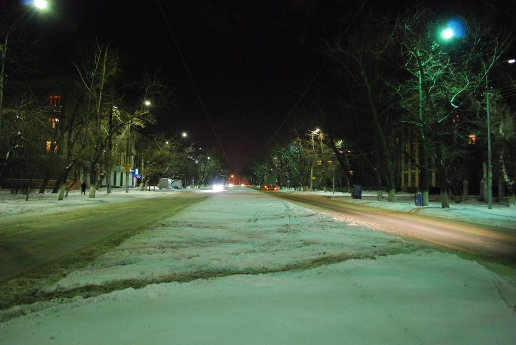 Ул. Героев Стратосферы ночью в Воронеже фото
