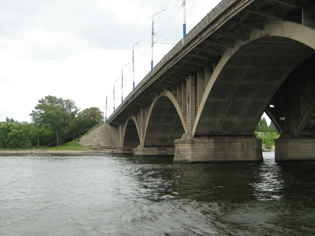 Вогрэсовский мост вид снизу в Воронеже фото