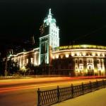 Вид ночью на башню ЮВЖД города Воронежа фото
